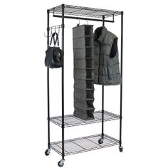 Portable And Expandable Garment Rack In Black Chrome 18 Months Stunning Rolling Garment Clothes Rack Double Rod Portable Closet Organizer 2