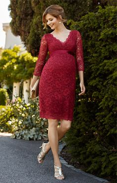 Chloe Lace Maternity Dress Scarlet - Maternity Wedding Dresses, Evening Wear and Party Clothes by Tiffany Rose.