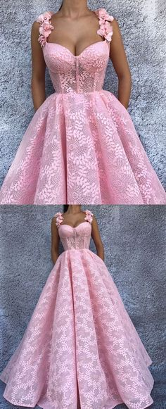elegant pink evening dresses with appliques, modest ball gowns with special lace, fashion formal dresses.