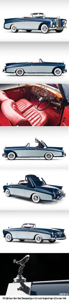 This is just a beautiful vehicle. 1958 Rolls-Royce Silver Cloud Honeymoon Express Two Seater Drophead Coupé. by: Freestone Webb ★。☆。JpM ENTERTAINMENT ☆。★。 Bentley Rolls Royce, Rolls Royce Cars, Station Wagon, Hot Rods, Vintage Cars, Antique Cars, Convertible, Automobile, Rolls Royce Silver Cloud