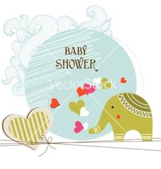 Baby shower card template vector on VectorStock®