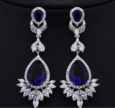 Find More Drop Earrings Information about Vintage Style Flower Petal Trimmed Created Sapphire Pear Shaped Drop Earrings Silver Tone Micro Pave CZ Blue Teardrop Earrings,High Quality earring stud,China earring cuff Suppliers, Cheap earrings blue from Dreamland Dresses & Accessories on Aliexpress.com