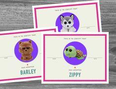 Nous avons créé l'accessoire parfait pour votre fête de Beanie Boo donc vos invités peuvent adopter officiellement leurs nouveaux animaux de compagnie. Inclus est de 110 + plus actuels et populaires Beanie Boos adoption des documents de prêts à être imprimé à la maison. Les papiers d'adoption sont de très haute qualité, coloré, plein de page s'imprime qui ont l'air incroyable! Sont inclus dans le téléchargement de 100 fichiers individuels qui vous permettent d'imprimer exactement les…
