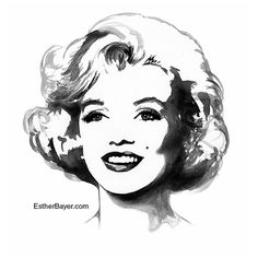 Marilyn Monroe Black & White Watercolor Fashion Illustration Painting Fine Art Print by EstherBayer | This image first pinned to Marilyn Monroe Art board, here: http://pinterest.com/fairbanksgrafix/marilyn-monroe-art/ || #Art #MarilynMonroe