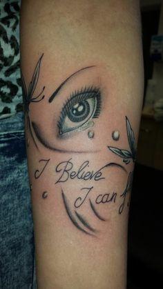 i believe i can fly butterfly eye tattoo script forearm girly