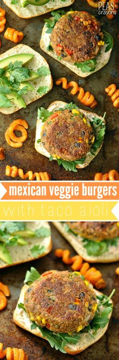 Homemade Mexican Veggie Burgers with Taco Aioli :: Embrace Taco Tuesday with this tasty new twist!