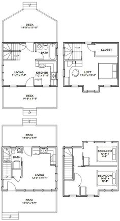 20x16 Tiny Houses PDF Floor Plans 584 sq by ExcellentFloorPlans