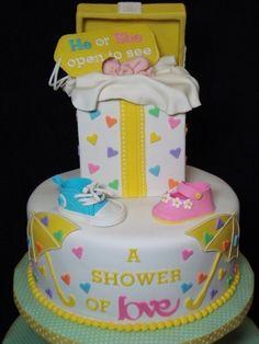 Gender Reveal Cake & Cupcake Tower