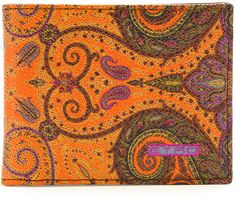 Etro Paisley-Print Leather Wallet, Orange on shopstyle.com