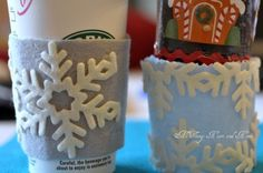 Felt Coffee Cozy - Am using this idea for the kids on Father's Day. Would be cute to have coffee cozies on empty cups in coffee holder with Wawa gift cards in each cup!