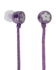 Limited Too Purple Glitterbomb Earbuds with In-Line Mic