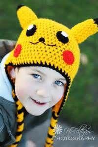 Pokemon Pikachu Yellow Crochet Beanie Ear Flap Hat in adult size Crochet Kids Hats, Crochet Mittens, Crochet Beanie, Cute Crochet, Crochet Crafts, Knitted Hats, Knit Crochet, Pikachu Hat, Pokemon Hat