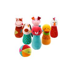 Another little wonder from the marvellous world of Lilliputiens! Encore un merveilleux article Lilliputiens ! Our favourite farm Bowling pins Bowling Pins, Toy Story Baby, Baby Stuffed Animals, Birth Gift, Sewing Toys, Easy Sewing Projects, Toys For Boys, Baby Toys, Gifts For Kids