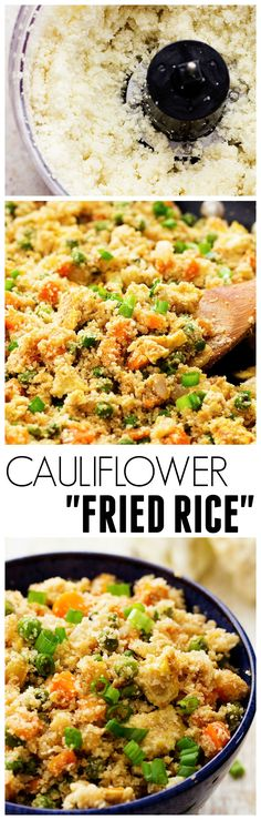Fried Rice This is soooo good! This Cauliflower Fried Rice looks and tastes exactly like fried rice! But SO much healthier for you! This is soooo good! This Cauliflower Fried Rice looks and tastes exactly like fried rice! But SO much healthier for you! Low Carb Recipes, Whole Food Recipes, Diet Recipes, Vegetarian Recipes, Cooking Recipes, Healthy Recipes, Recipies, Sodium Free Recipes, Banting Recipes