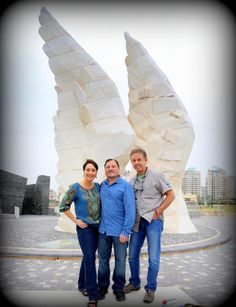 Myles & Katharine alongside our producer, Kenneth Berg, at the Victory Monument in Netanya on a ZLM Spring 2013 Tour to Israel!