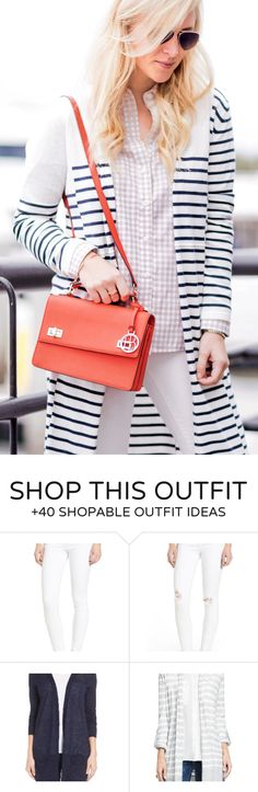 #winter #fashion /  Striped Coat / Orange Leather Shoulder Bag / White Skinny Jeans / Pink Checked Shirt