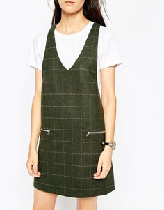 Image 3 ofASOS PETITE Pinni Dress in Check with Zip Pockets