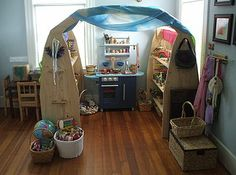 these waldorf play areas all look so fun, I would have fun playing there!