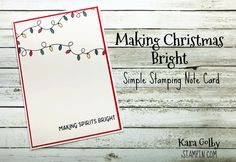 Clean and simple Christmas card using Making Christmas Bright stamp set from Stampin' Up!. Visit iStampin.com to learn more. Holiday Cards, Christmas Cards, Paper Pumpkin, Simple Christmas, Note Cards, Happy Holidays, Cardmaking, Stampin Up, Card Ideas