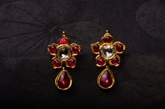 Kids Earrings where Rubies form the highlight of this pair of earrings with a hint of uncut diamonds, handcrafted in India Jewelry, Temple Jewellery, Gold Jewelry, Beaded Jewelry, Diamond Jewelry, Kids Earrings, Ruby Earrings, Gold Earrings Designs, Bling