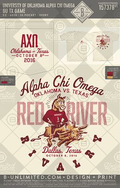 A little team rivalry. University of Oklahoma Alpha Chi Omega #BUonYOU #greek #greektshirts #greekshirts #sorority #AlphaChiOmega #AlphaChi #AXO #gameday #PRshirts