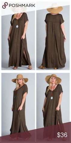 "Olive Maxi With Side Slits Olive Maxi has short sleeves with narrow folded cuffs and side pockets. Pleat detail on upper back, slips over head.	  Measurements  laying flat: Armpit to armpit - 1X 24"", 2X 24.5"", 3X 25.5"", waist - 1X 24"", 2X 24.5"", 3X 25.5"", length - 1X 52"", 2X 52"", 3X 53"", width at top of slit - 1X 28"", 2X 28.5"", 3X 29.5"" EVIEcarche Dresses"
