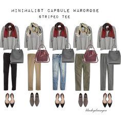 Minimalist Wardrobe - Fall 2015 - Striped Tee by bluehydrangea on Polyvore featuring moda, Madewell, J.Crew, Boden, Zara, Banana Republic, SEVENTY and Lost & Found