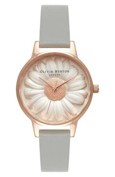 Olivia Burton 'Flower Show' Leather Strap Watch, 30mm