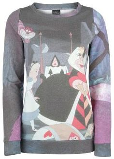Alice in Wonderland - Garden  - all-over print - used look - elastic cuffs and hem - Walt Disney  There are always something happening in Wonderland! The print on the Garden sweatshirt shows an everyday scene in the popular fantasy world and some of its weird creatures. The Alice in Wonderland sweatshirt has a relaxed used look and features a sublimation print.