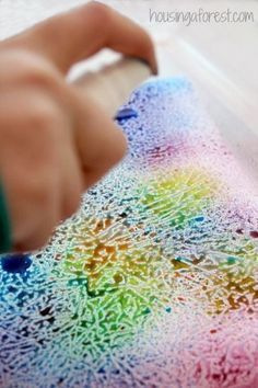 Art Activities for kids ~ simple process art using a fun wax paper resist technique