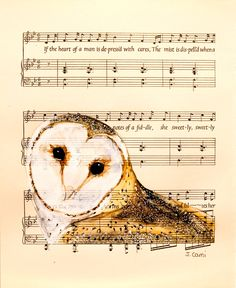 Barn Owl IV - Original Watercolor Painting - on Antique Book page - 6 1/2x8inches. $20.00, via Etsy.