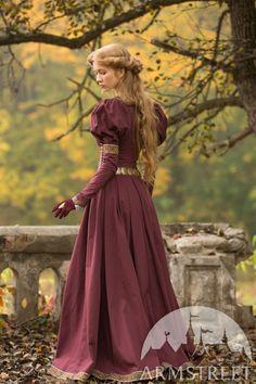 Medieval Cotton Fantasy Dress Princess in Exile Long Dress Medieval Fashion, Medieval Clothing, Historical Clothing, Gypsy Clothing, Medieval Gown, Fantasy Costumes, Fantasy Dress, The Dress, Costume Design
