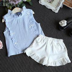 Clothes set Design Wrinkle Cotton T-shirt Shorts\