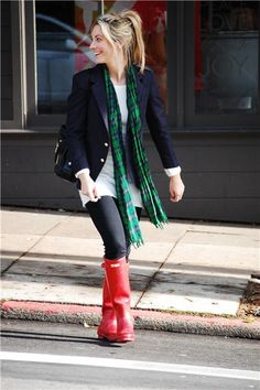Vintage Blazer and Glasses, H&M Sweater, J.Crew Scarf, Gifted Citizens of Humanity Stirrup Legging Jeans, Hunter Boots, Gryson Bag