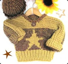 Star Toddler Pullover and Watch Cap  in Bulky Knit Pattern  Child 3 to 8 years old by LaurelArts for $5.00