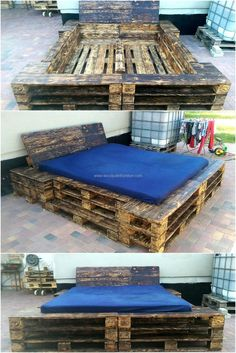 Those who don't consider wood pallets a useful thing, here is the proof by Lucie's Palettenmöbel as a huge recycled pallet bed is created with the unique style. It is good to consider pallet modification if the person wants to save money on huge items just like bed.