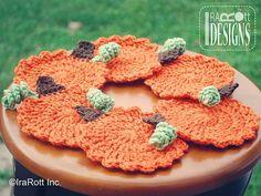 10 FREE Crochet Patterns for Your Thanksgiving Dinner Table: Crochet Pumpkin Coaster FREE Pattern
