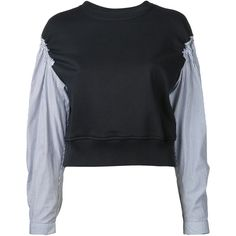 3.1 Phillip Lim 'French Terry' top ($333) ❤ liked on Polyvore featuring tops, black, 3.1 phillip lim top, cut-out crop tops, flutter-sleeve top, flounce crop top and crop top