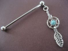 Dangle Industrial Barbell Upper Ear Piercing Turquoise Dream Catcher Feather Dreamcatcer Charm 16 14 Gauge G 14g 16g