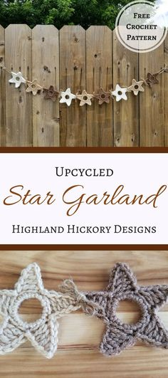 Crochet the Upcycled Star Garland with this easy pattern! Upcycle the plastic rings from water bottles to decorate a child's room, party or your own home!