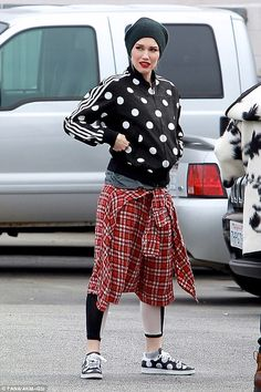 Pop punk princess! Gwen Stefani harkened back to her days as a pop punk princess with her polka dot jacket and plaid shirt that she wore as a skirt on Thursday in LA's Studio City on Thursday
