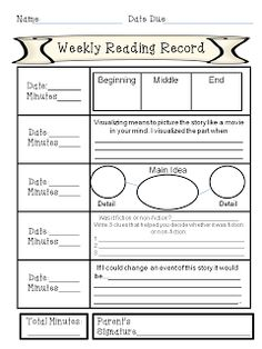 Weekly Reading Record with Comprehension Activities for each night FREEBIE I already do a reading log, but it's funny how they have been reading the same book for 6 months.
