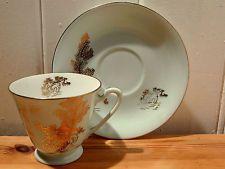 Noritake Japan Tea Set Cup and Saucer Green Gold 1940's to 50's House tree bird