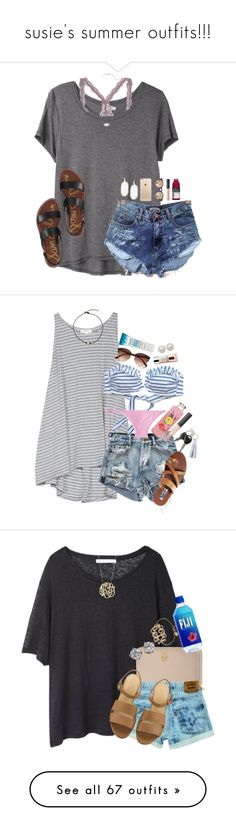 """susie's summer outfits!!!"" by sdyerrtx ❤ liked on Polyvore featuring Organic by John Patrick, Kendra Scott, Ray-Ban, NARS Cosmetics, Sam Edelman, Soft Joie, American Eagle Outfitters, J.Crew, River Island and Clinique"