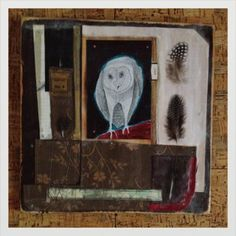 """1968 Owl paper and fabric collage on wood, wax 12""""x12"""" SOLD"""