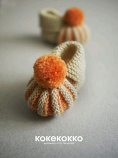 Baby booties -- love the textures and colors