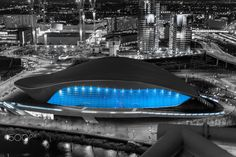 The Aquatic Centre - Is it a Bird?, Is it a Plane?, no its an Olympic swimming pool!! the Aquatic Centre opened in 2012 London Olympics, designed by Zaha Hadid Taken from the Mittal Tower with a bit of colour popping