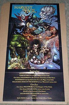 Original 1992 Harvest of Evil 34 x 17 inch Marvel Epic Comics horror comic book promo poster 1:Simon Bisley art/Dracula/Man-Thing/Hellraiser