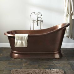 "66"" Paxton Copper Slipper Pedestal Tub - No Overflow"