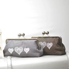 Embroidered Lace Hearts Clutch Bag Slate Grey and Tweed Shown